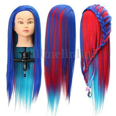 3 Color Long Hair Model Hairdressing Practice Training Head Mannequin + Clamp UK