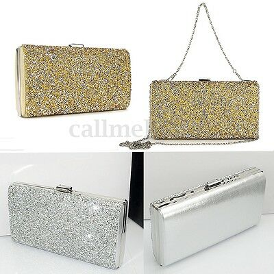 UK Womens Glitter Clutch Shoulder Bag Sparkly Silver Evening Bridal Party Purse