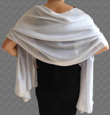 SILKY Lightweight SILVER Grey WEDDING Evening Pashmina Style Shawl Wrap Scarf