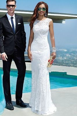 Lace Mermaid White Ivory Wedding dress Bridal Gown Custom Size6-8-10-12-14-16-18