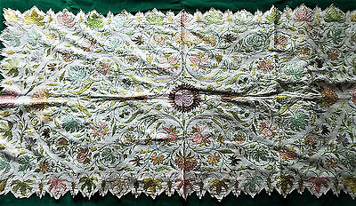 Vintage Silk Embroidered Table Runner/indian Possibly