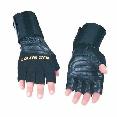 Uneed Gym Gold Leather Wrist Rap Support Weight Lifting Gloves Exercise Training