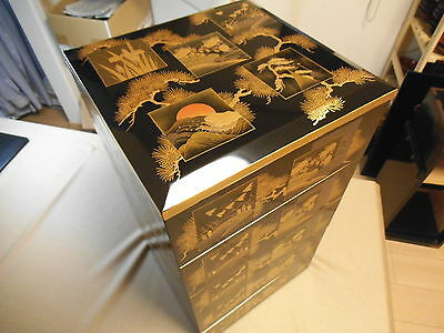 Japanese Luxury Wooden Lacquer Tiered 5 Food Boxes