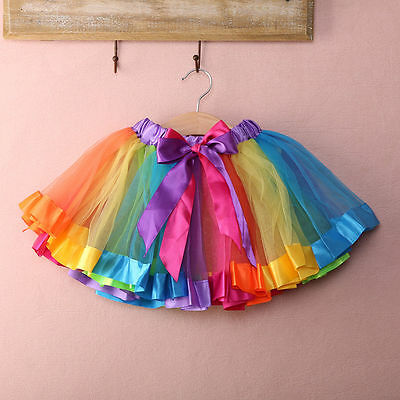 Kid Baby Handmade Colorful Tutu Skirt Girls Rainbow Tulle Tutu Mini Dress 0-8Y c