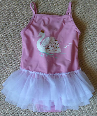 NWT Sprout Girls Swan Gold Glitter Tutu Swimsuit Bathers Size 0 or Size 1