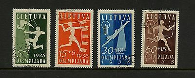 Lithuania 1938  #B43-6 sports olympiad  4v.  CTO-hinged  J908
