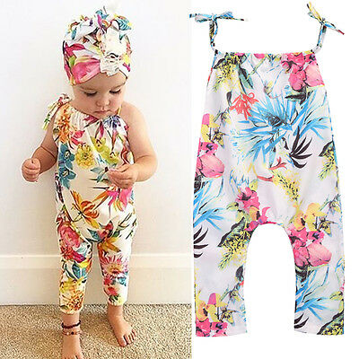Summer Baby Girls Jumpsuit Sleeveless Floral Romper Bodysuit Clothes Outfits c