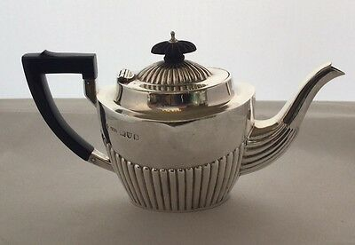 Victorian Sterling Silver Teapot with Fluted Decoration, Chester 1898, 238.0g