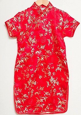 Chinese Dress 14 Cheongsam Qipao Red Floral Mandarin Girls Costume Ethinic