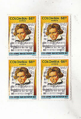 colombia 1977 Sc C643,beethoven,block of four,MNH ,set         h1738