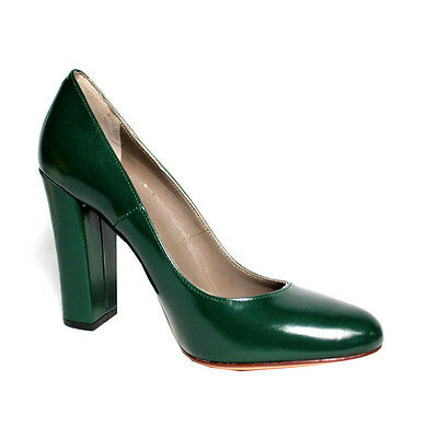 UPPER CLASS women's shoe green heel 10 cm 100% leather MADE IN ITALY