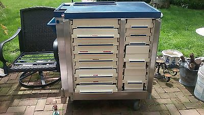 Artomick 14 Drawer Med Cart Stainless/Blue            Price Reduced!!!!