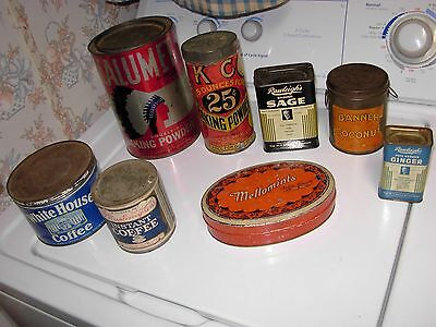 LARGE LOT OF 8 EARLY ANTIQUE ADVERTISING TINS primitive white house coffee