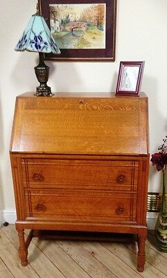 ~Lovely Antique Vintage 20th Century Golden Oak Bureau with Key~