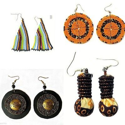 Handmade African Ethnic Masai Earrings, Tribal Fairtrade Unique Summer Jewellery