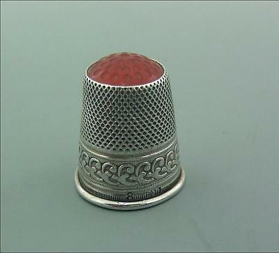 Antique Stone Topped Solid Silver Thimble German