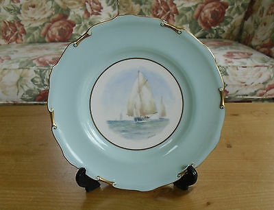 """Royal Crown Derby Hand Painted(WEJ Dean) Boats at Sea Cabinet Plate - >9"""""""