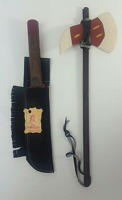 Qualla Reservation, Cherokee, NC Wooden Tomahawk and Knife with Leather Sheath
