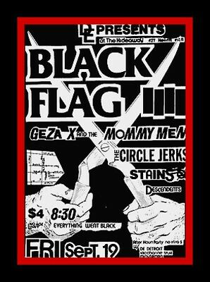 "3.25"" BLACK FLAG Punk rock show Sticker. 80's Rollins, Anarchy for guitar, bong3"