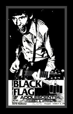 "3.25"" BLACK FLAG Punk rock show Sticker. 80's Rollins, Anarchy for guitar, bong5"