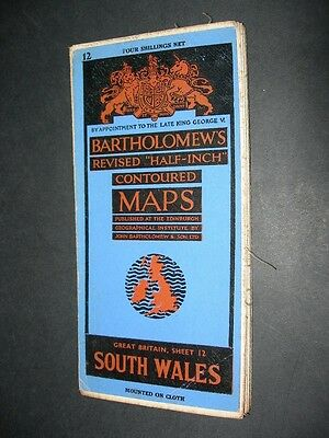 BARTHOLOMEW'S Oct 1950 Revised HALF INCH CLOTH CONTOURED MAP SOUTH WALES No.12