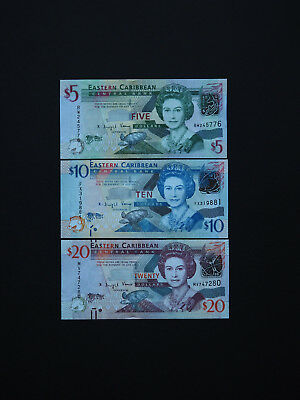 East Caribbean Banknotes  -  High Quality Set Of 3 Notes    *  Gem Unc  *