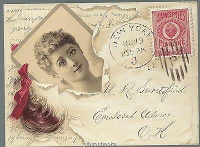 Victorian Trade Card Pearline Washing Compound Lovely Lady Postcard Cothes Pin