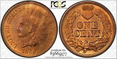 1866 Indian Head Cent, PCGS MS65RB, Beautiful!!!