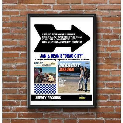 Jan & Dean Drag City Promo Poster Vintage Drag Racing Los Angeles