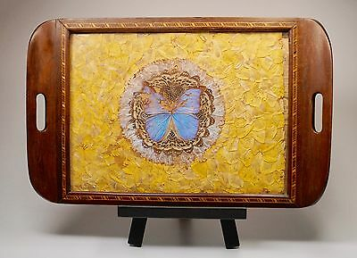 "Vtg Butterfly Wing Under Glass Wood Inlay Marquetry Tray 21"" Shabbily Chic AS IS"