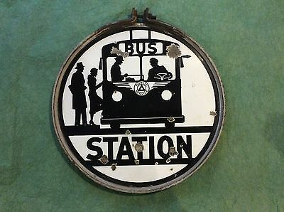 Rare Antique Porcelain Bus Sign Public Service New Jersey 2 Sided Advertising