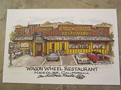 Wagon Wheel Needles CA by Late Bob Waldmire Route 66 color Post Card Quik s&h!