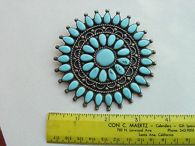 """Vintage Navajo Sterling Silver Turquoise Cluster .3 1/2"""" across.signed L P."""