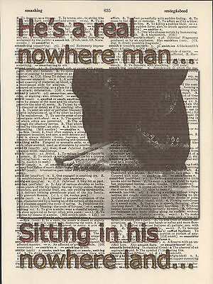 Beatles Nowhere Man Homeless Altered Art Print Upcycled Vintage Dictionary Page