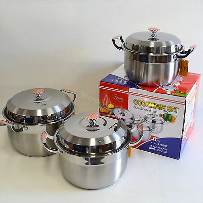 New Quality 2-Layer Stainless Steel Cookware Cooking Soup Pot Set 28-32cm #6507