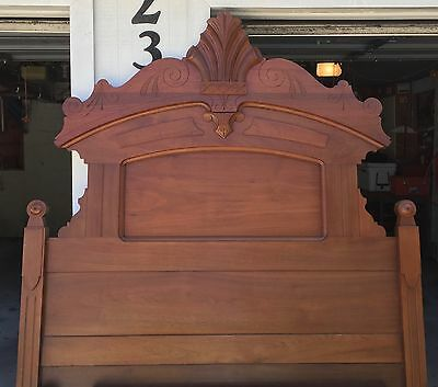 "86"" Victorian walnut full size bed - Antique"