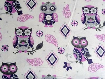 "Pack N Play Cover/flannel/ Large (27X39"") - Purple And Grey Owls And Paisley"