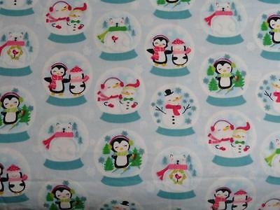 "Pack N Play Cover/flannel/ Large (27X39"") - Penguins & Snowmen In Snowglobes"