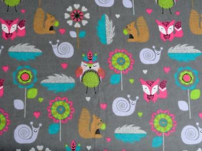 "Pack N Play Cover/flannel/ Large (27X39"") - Foxes Squirrls Snails & Feathers"