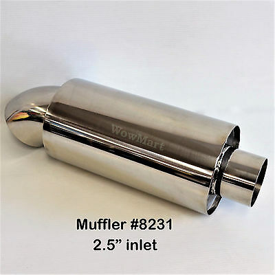 New Universal Stainless Steel 2.5'' Inlet Exhaust Cannon Muffler (#8231)