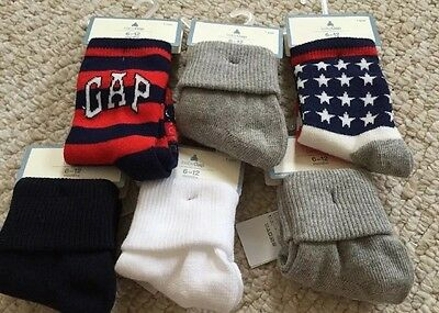 NWT Baby Gap Infant Lot of 6 Pair Unisex Socks 6-12 Months Boy Girl
