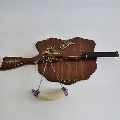 """Wall Decoration 28"""" Hunting Rifle Flintlock Caved Horn & Wooden Plaque (#060)"""