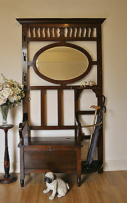 Rustic Antique Blackwood Hall Stand Hat & Coat Stand Lift Top Hall Seat /Storage