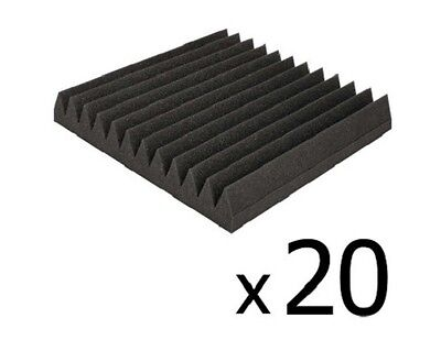 NEW 20x Recording Studio Home Theatre Wedge Acoustic Sound Foam Charcoal 30x30cm