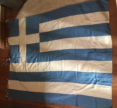 VINTAGE GREEK GREECE FLAG IN GREAT CONDITION (1950s-1960s)