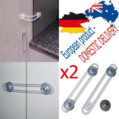 MULTI PURPOSE FUNCTIONAL LOCK Latch Transparent SAFETY Fridge Cabinet Open REER