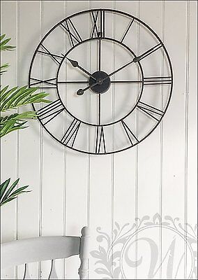 Large Medium 40 60 CM Classic Vintage Stunning Metal Roman Numeral Clock Black