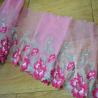 5.9/'/'Wide 2YDs Pink Gauze Fluorescent Pink Flower Embroidery Lace Trim