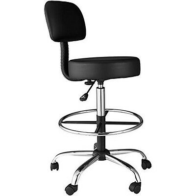 Medical Drafting Stool Adjustable Seat Foot & Back Rest Rolling Office Lab Chair