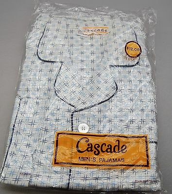 60ies 70ies Vintage NOS  Mens Cotton Flannel Long Sleeve Cascade Size B Medium